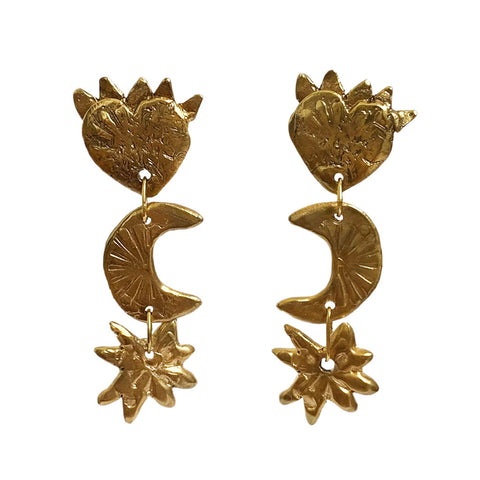 Sister Earrings 18ct Yellow Gold Plated