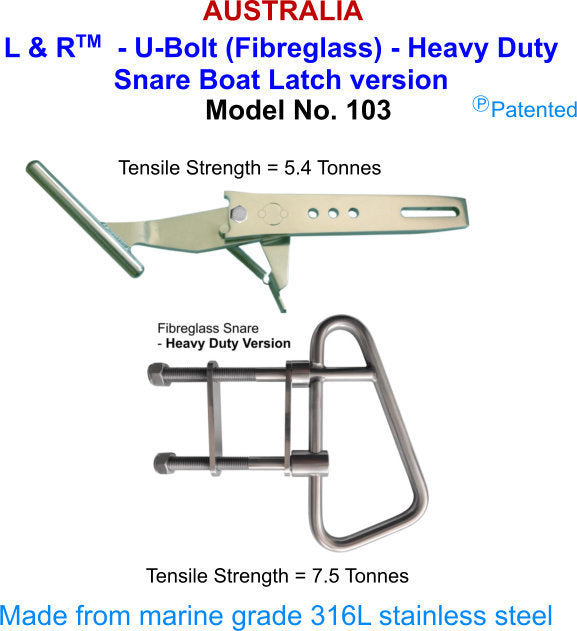 L & R U-Bolt Heavy Duty Boat Latch - Model 103