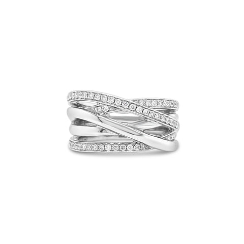18ct White Gold Crossover Band