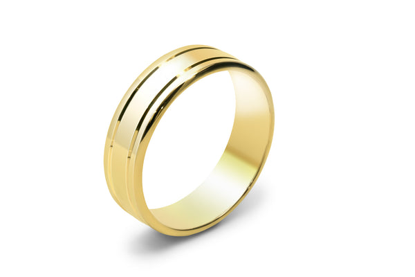 18ct Yellow gold mens wedding ring with lines