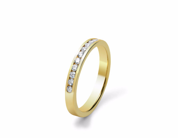Channel Set Diamond Wedding Ring in yellow gold