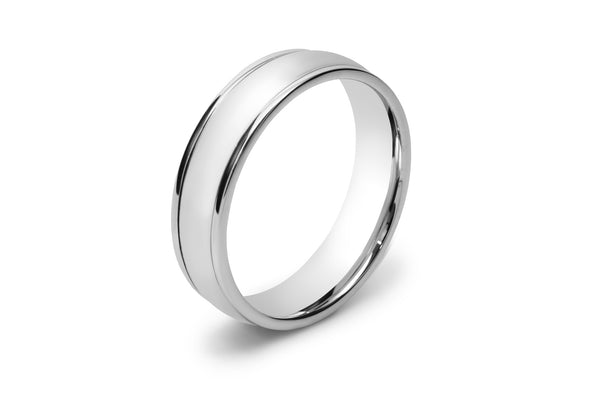 Curved Men's Wedding Ring with Two Lines Scored