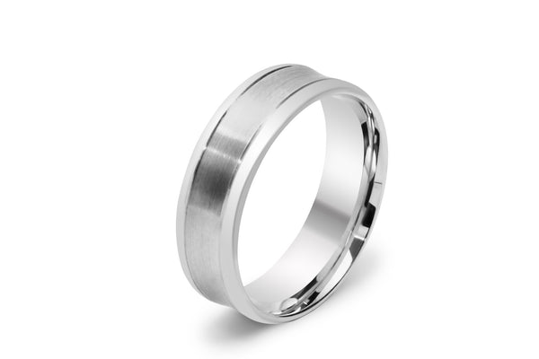 Concave Men's Wedding Ring with Two Lines Scored