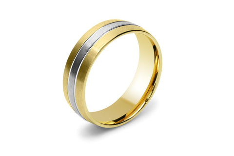 Two Tone 18ct White and Yellow Gold Men's Wedding Ring