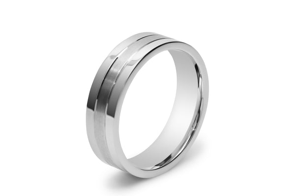 Flat Men's Wedding Ring with Two Lines Scored