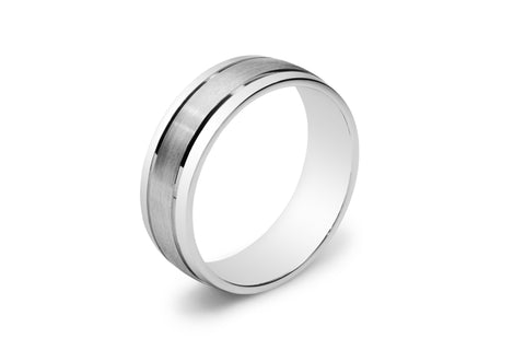 Half Round Men's Wedding Ring with Two Lines Carved