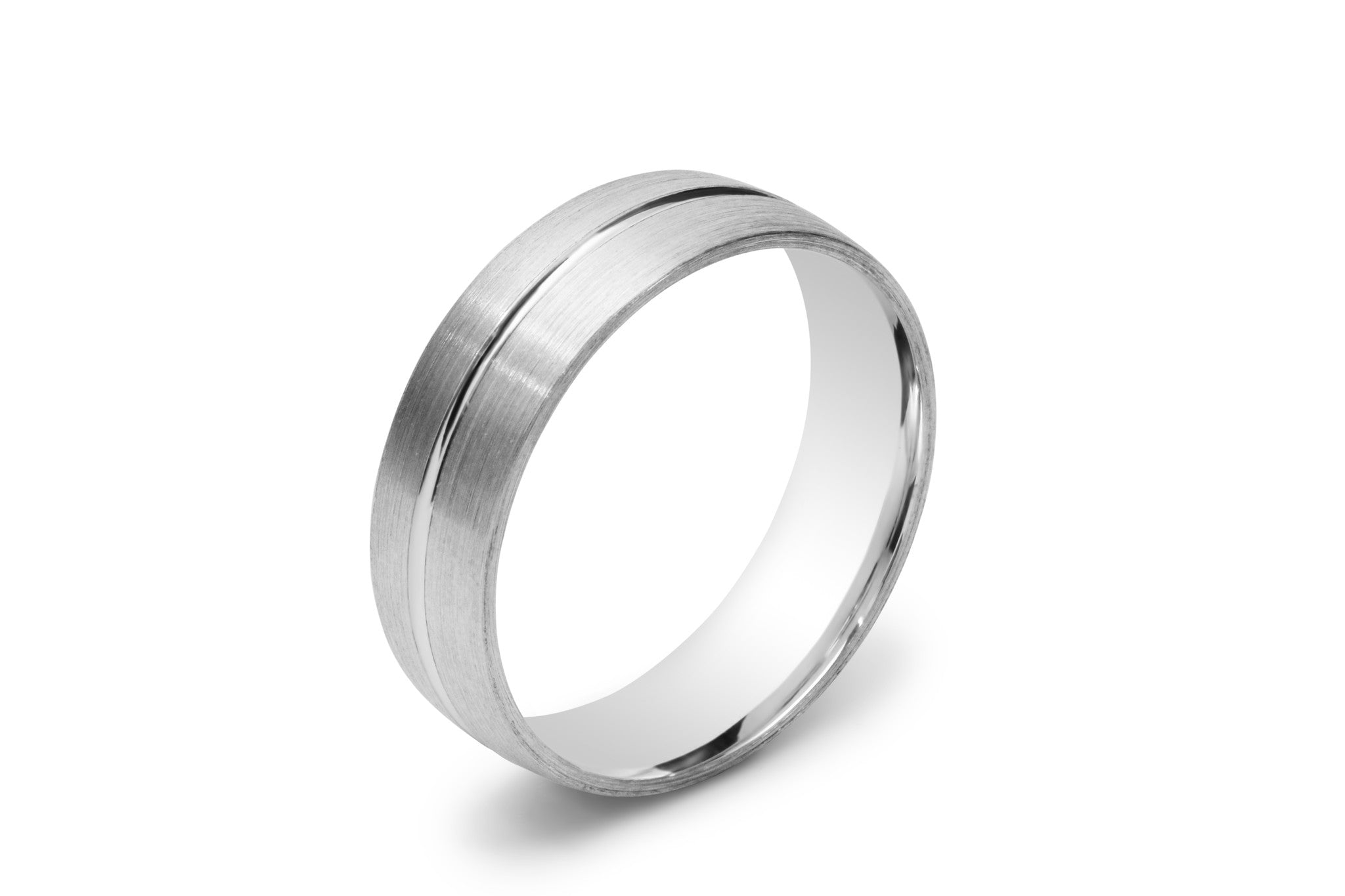 Half Round Men's Wedding Ring with a Scored Line