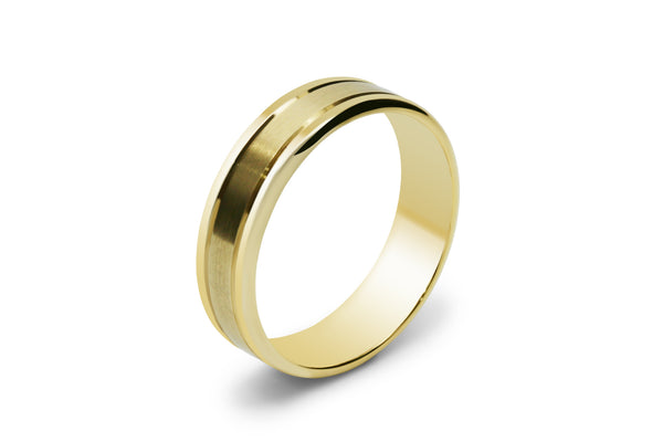 Double Scored Line Men's Wedding Ring