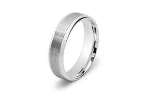 Half Round Men's Wedding Ring with Scored Lines in White Gold