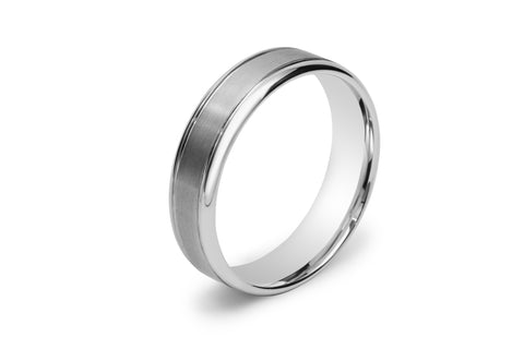 Two Tone Double Scored Line Men's Wedding Ring with Rounded Edges