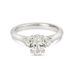 Oval Diamond Trilogy Engagement Ring