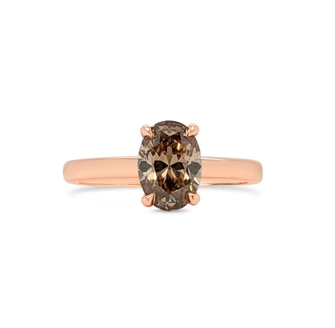 Oval Cognac Diamond Solitaire Ring
