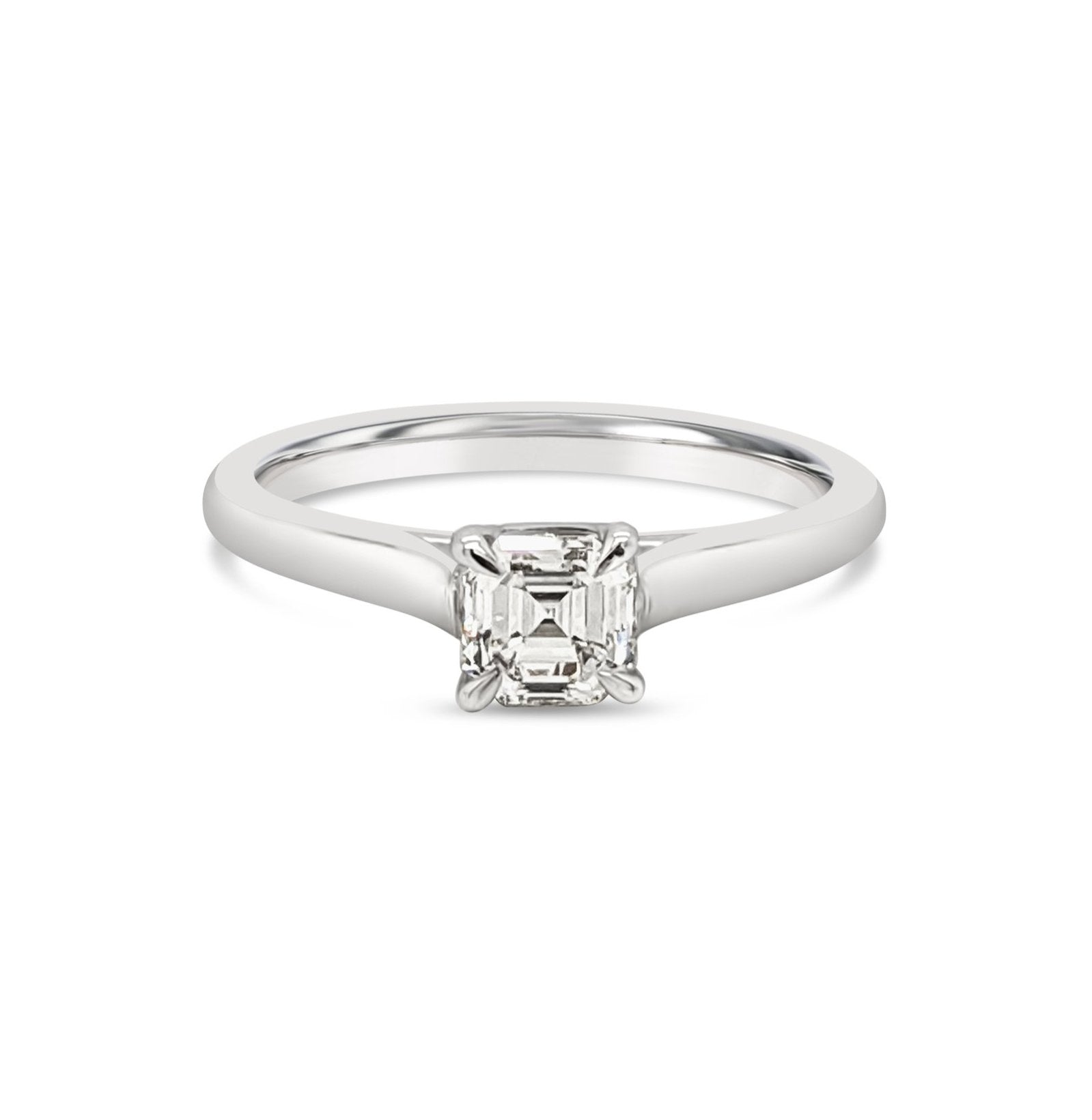 Asscher Cut Platinum Engagement Ring
