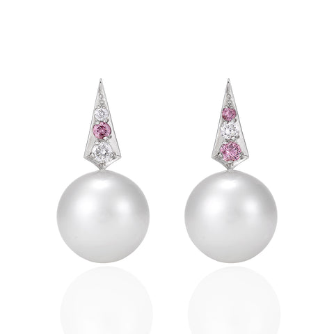 Pink diamond and South Sea pearl earrings