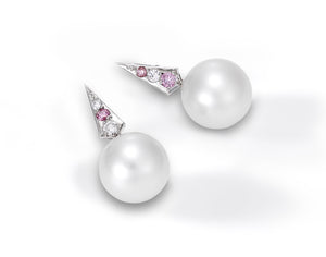 Argyle pink diamond and south sea pearl earrings
