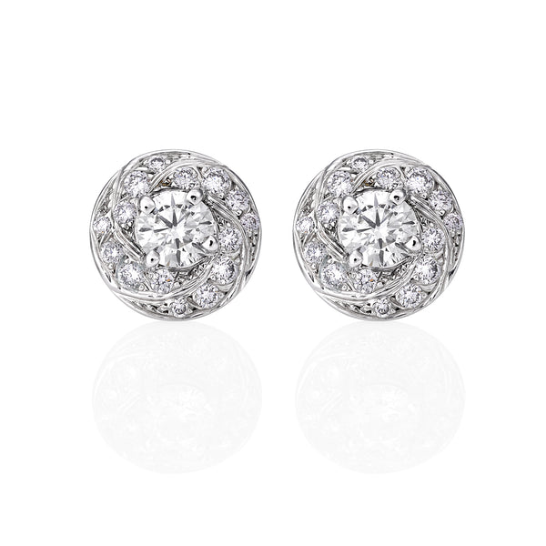 Diamond Swirl Stud Earrings