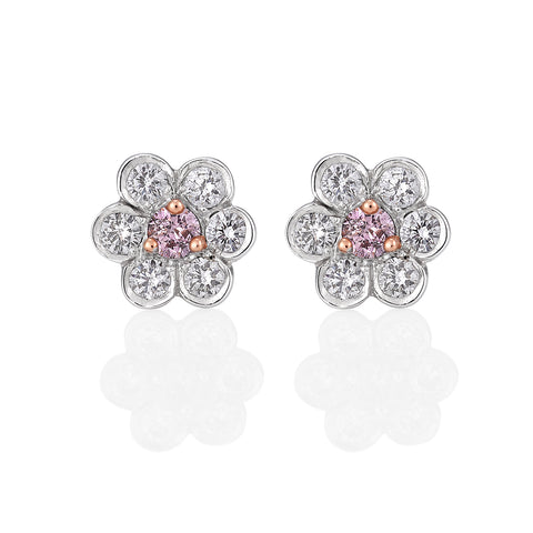 Argyle Pink diamond flower earrings