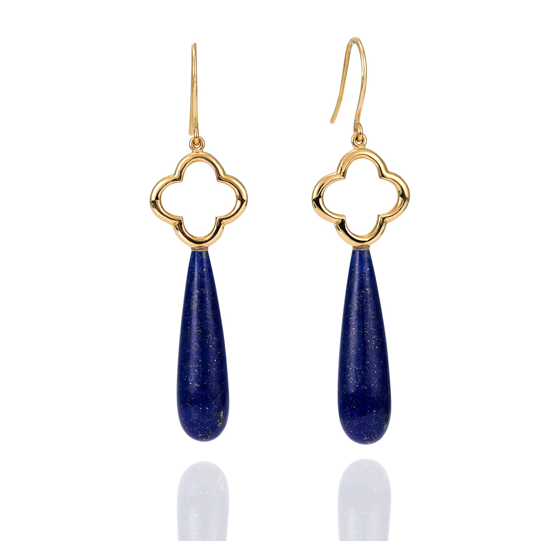Lapis Lazuli Yellow Gold Earrings