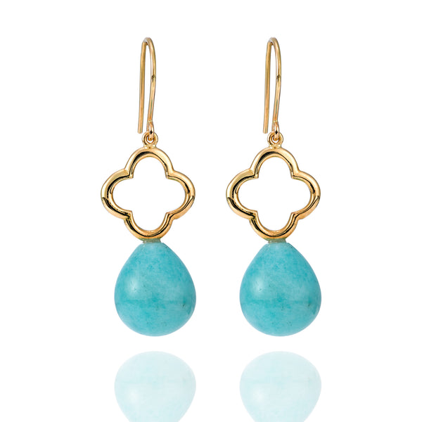 Amazonite Yellow Gold Earrings