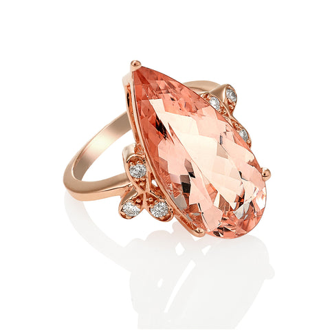 Pear shape Morganite ring