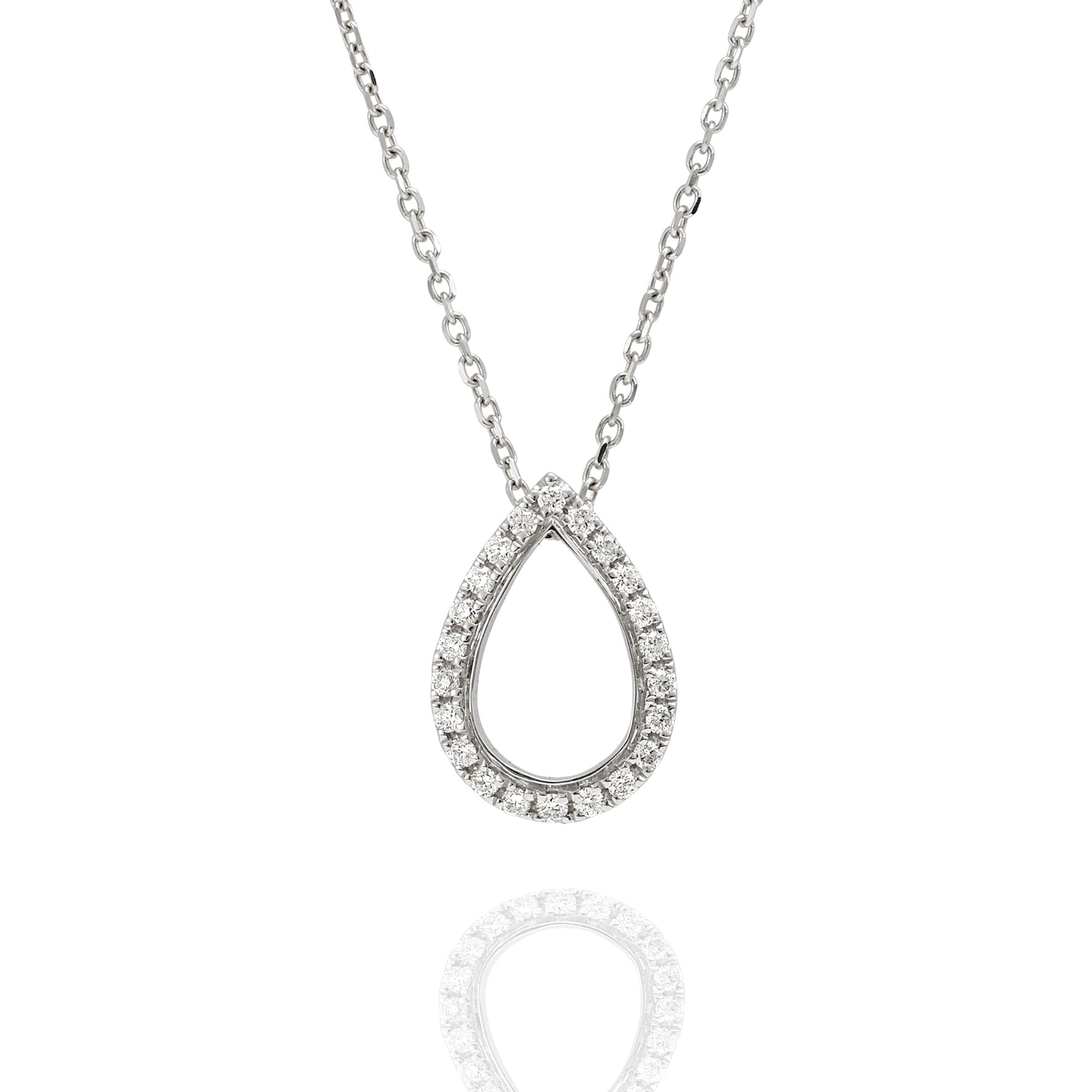 18ct white gold diamond pear shape pendant including chain