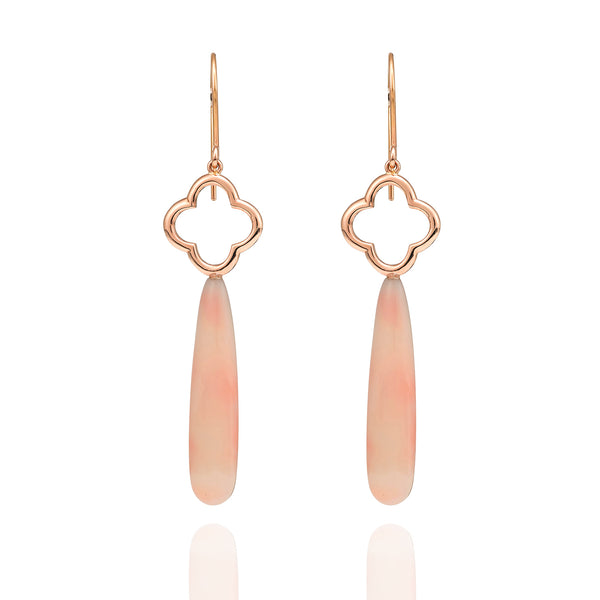 Coral earrings in 18ct rose gold