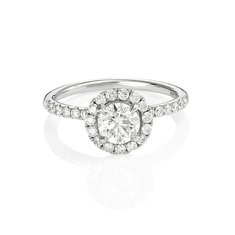 18ct White Gold Round Brilliant Cut Diamond Halo Engagement Ring
