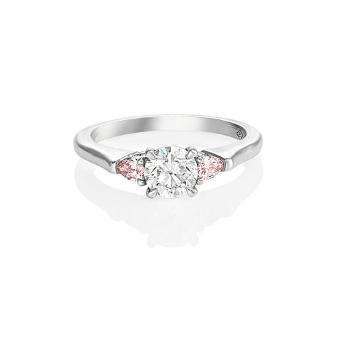 Platinum Pink and White Diamond Engagement Ring
