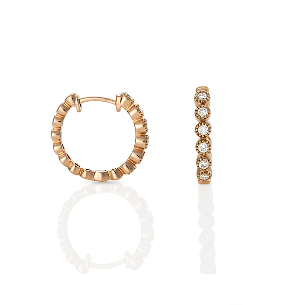 18ct Rose gold bezel set diamond hoops with millgrain