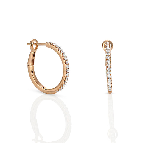 18ct Rose gold diamond hoops with locking back
