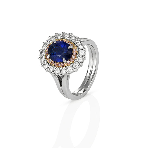 Sapphire, Pink and white diamond ring