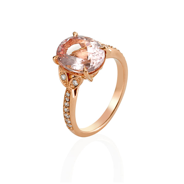 Oval Morganite Floral Ring