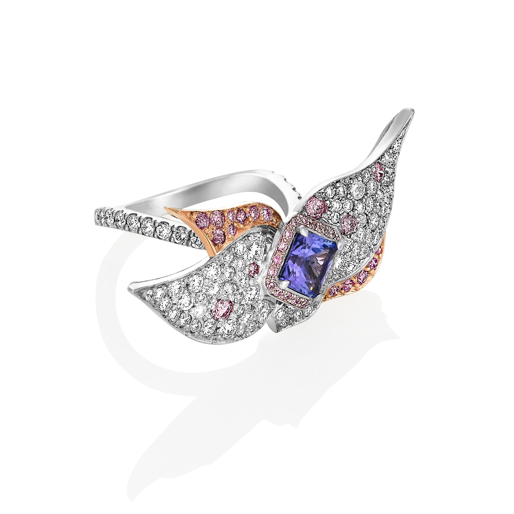 Pink and White Diamond Tanzanite Floral Ring