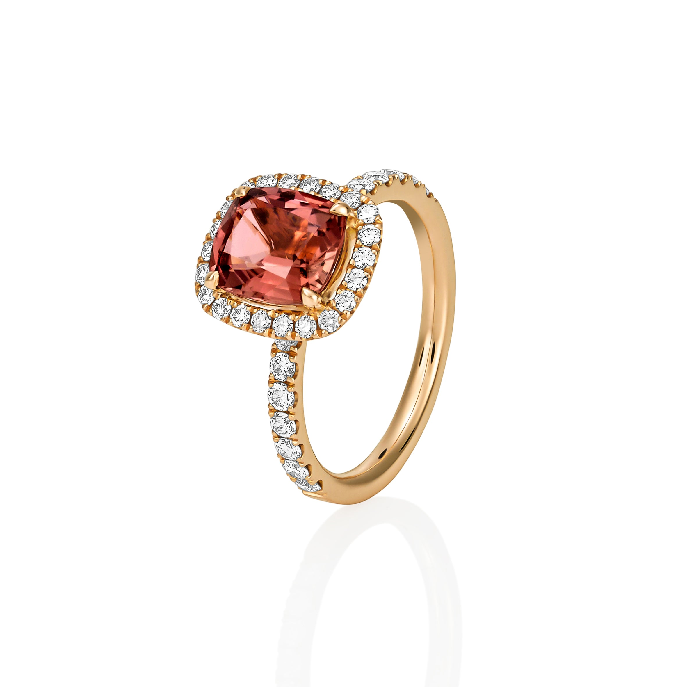 Peach Spinel Rose Gold Ring