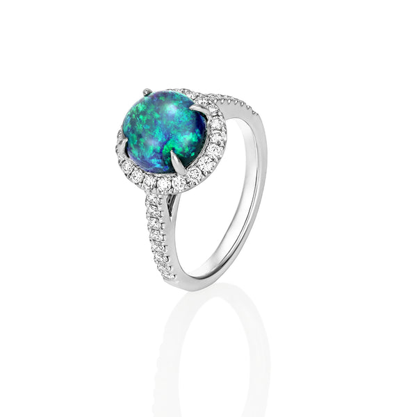 Black Opal with halo of diamonds ring