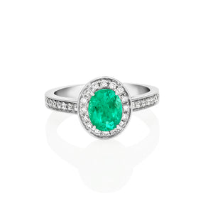 Oval Shape Emerald and Diamond Ring
