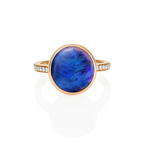 Opal and Diamond Rose Gold Ring