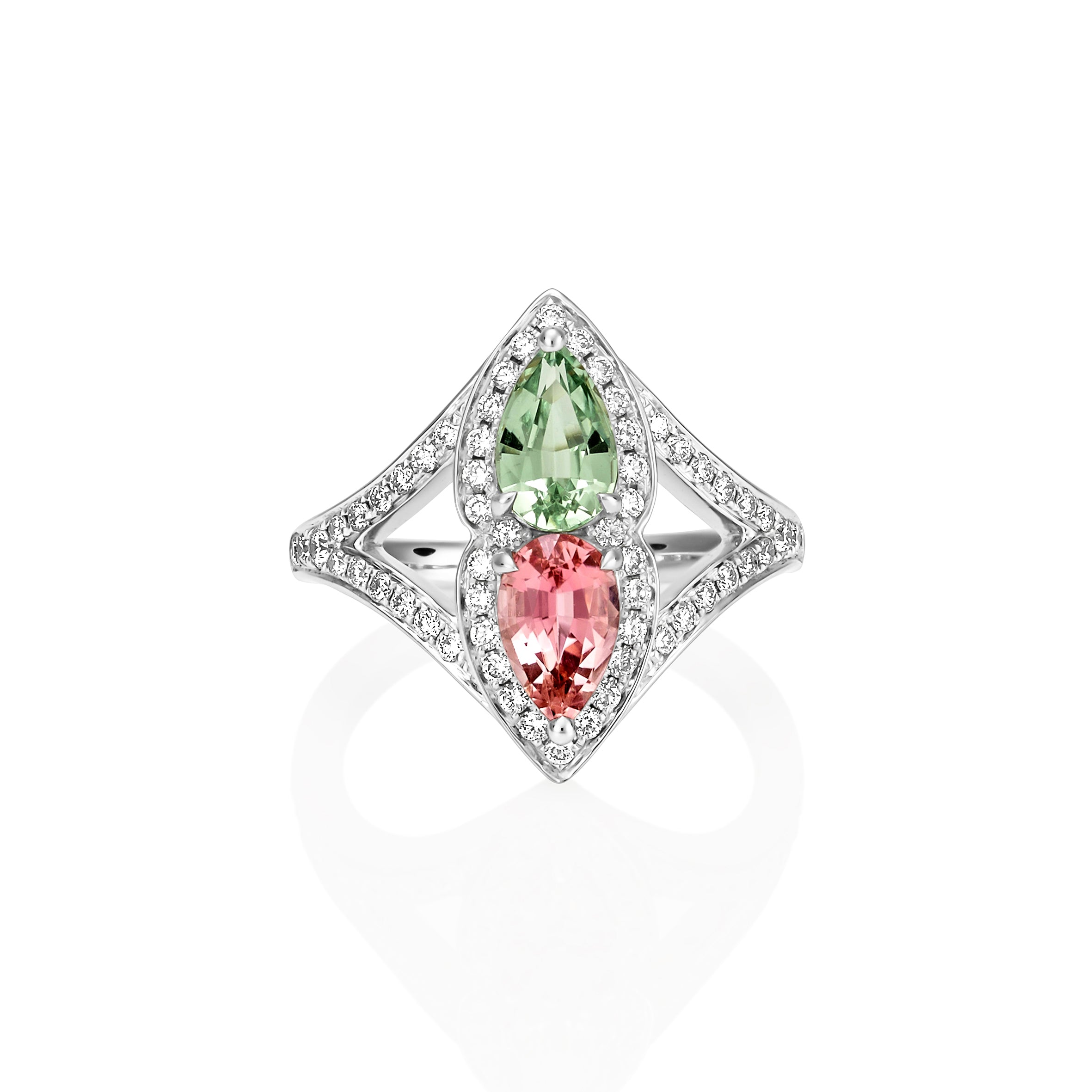 Pink and Green Tourmaline Dress Ring