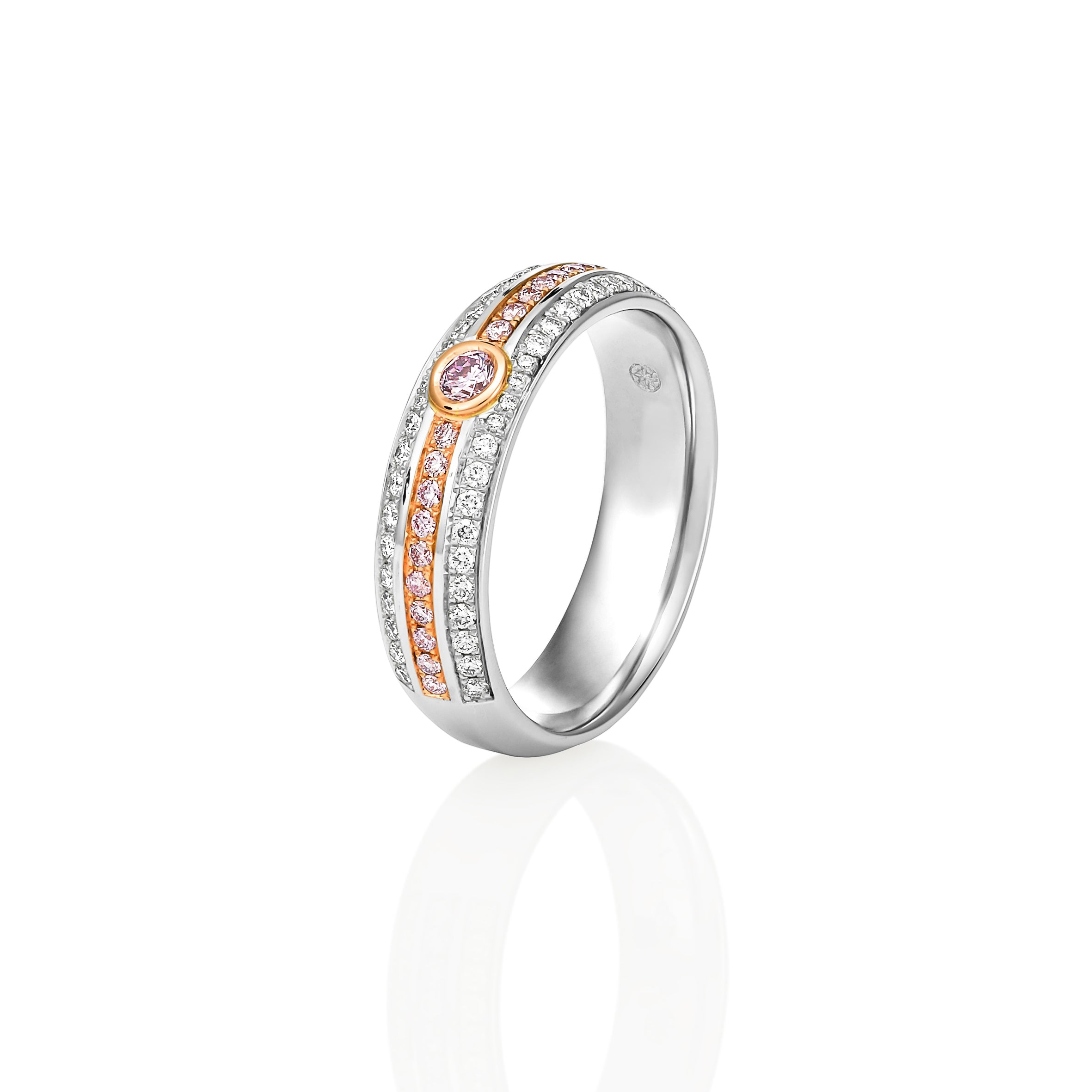3-row Argyle Pink Diamond Band