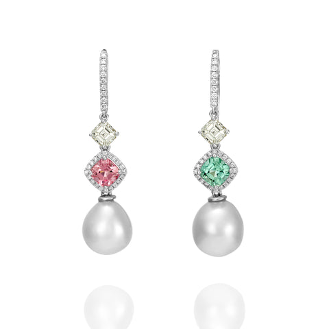 Pearl, Tourmaline and Diamond earrings