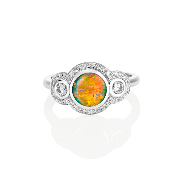 Round Black Opal Bezel set Diamond Ring