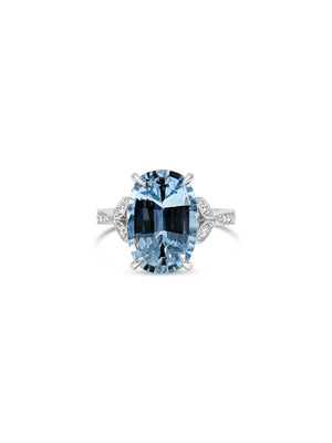 3.8ct Aquamarine ring in Platinum setting with diamonds