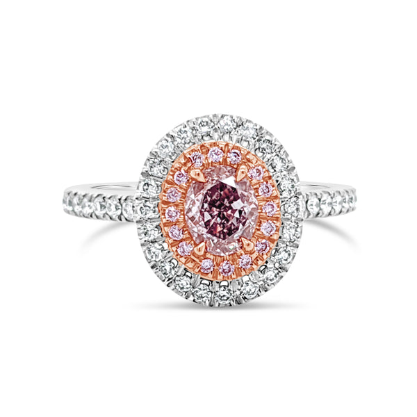 Oval Pink Diamond Ring with Double Halo