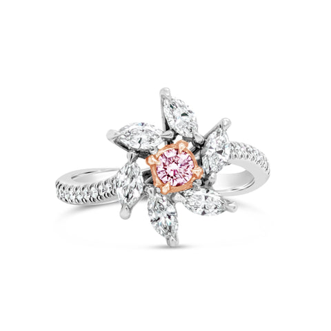 Pink Diamond Flower Ring