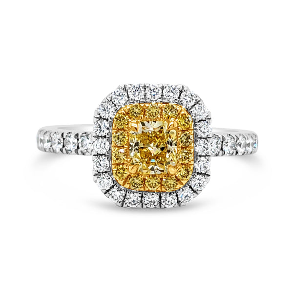 Yellow Diamond Double Halo Ring