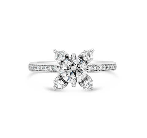 Round Brilliant and Asscher Cut Engagement Ring