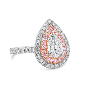 Pear Shape Double Halo White and Pink Argyle Diamonds