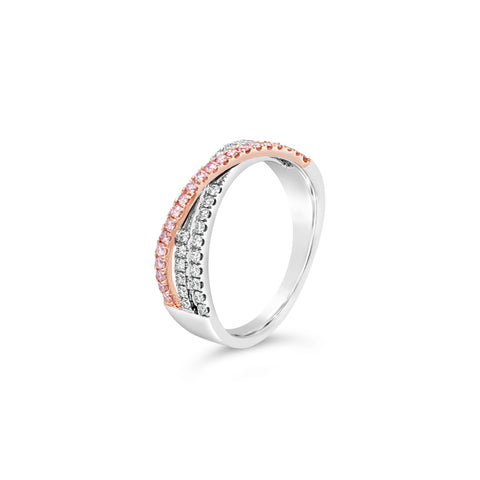 Argyle Pink and white diamond crossover ring
