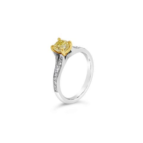 Platinum and Gold Yellow Diamond Ring