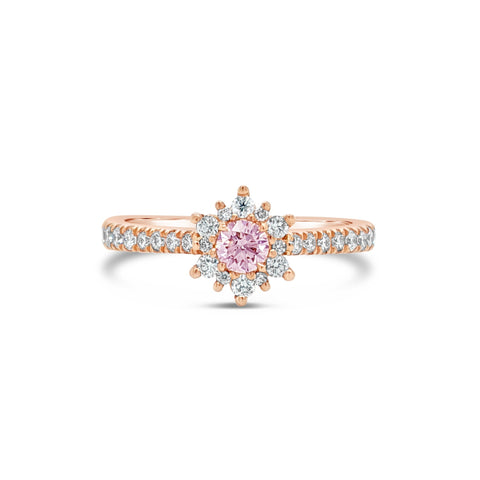 18ct Rose Gold White and Pink Diamond Ring